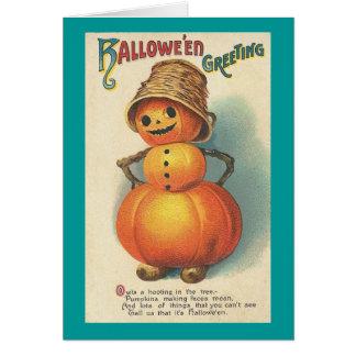 Hombre de la calabaza del saludo de Halloween Felicitaciones