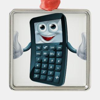 Hombre de la calculadora del dibujo animado adorno navideño cuadrado de metal