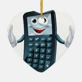 Hombre de la calculadora del dibujo animado adorno navideño de cerámica en forma de corazón