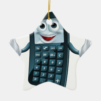 Hombre de la calculadora del dibujo animado adorno navideño de cerámica en forma de estrella