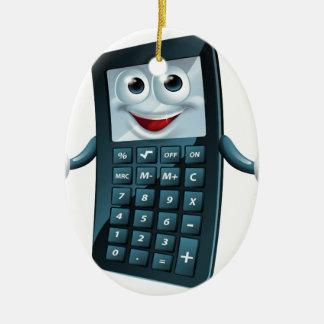 Hombre de la calculadora del dibujo animado adorno navideño ovalado de cerámica