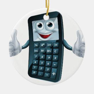 Hombre de la calculadora del dibujo animado adorno navideño redondo de cerámica