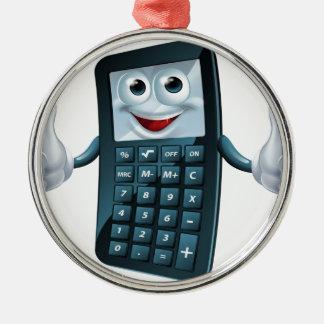 Hombre de la calculadora del dibujo animado adorno navideño redondo de metal