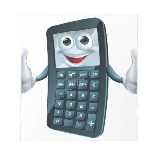 Hombre de la calculadora del dibujo animado bloc de papel