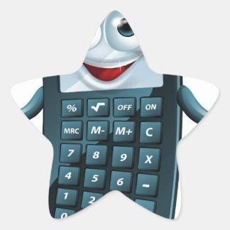 Hombre de la calculadora del dibujo animado calcomanía forma de estrella