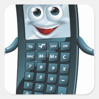 Hombre de la calculadora del dibujo animado pegatina cuadrada