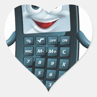 Hombre de la calculadora del dibujo animado pegatina en forma de corazón