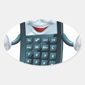 Hombre de la calculadora del dibujo animado pegatina ovalada