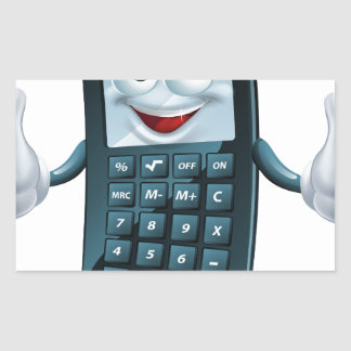 Hombre de la calculadora del dibujo animado pegatina rectangular