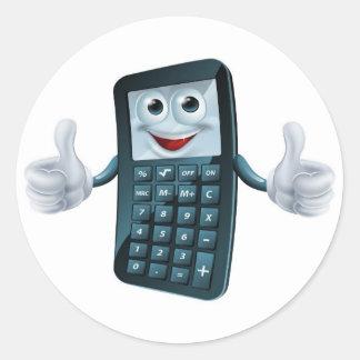 Hombre de la calculadora del dibujo animado pegatina redonda