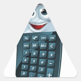 Hombre de la calculadora del dibujo animado pegatina triangular