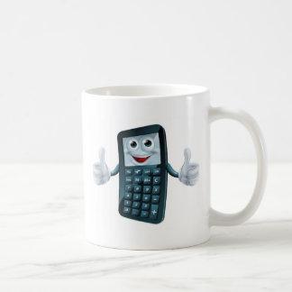Hombre de la calculadora del dibujo animado taza básica blanca