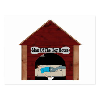 Hombre de la casa de perro postales