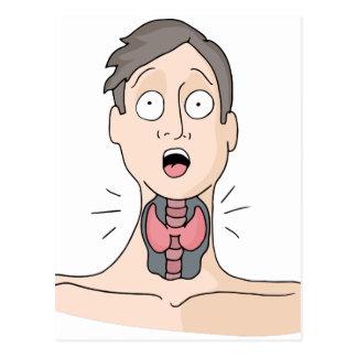 Hombre de la dolencia de la tiroides postal