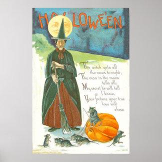 Hombre de la escoba de la calabaza de la bruja en  póster