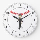 Hombre de la Feliz Año Nuevo Reloj De Pared