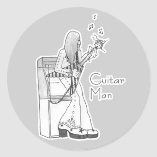 Hombre de la guitarra pegatina redonda