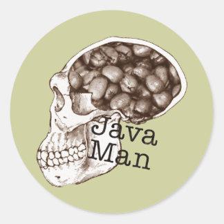 Hombre de la haba de Java Pegatina Redonda