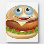 Hombre de la hamburguesa del dibujo animado placa