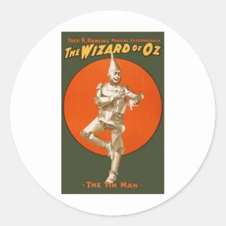 Hombre de la lata de mago de Oz - teatro musical Pegatina Redonda