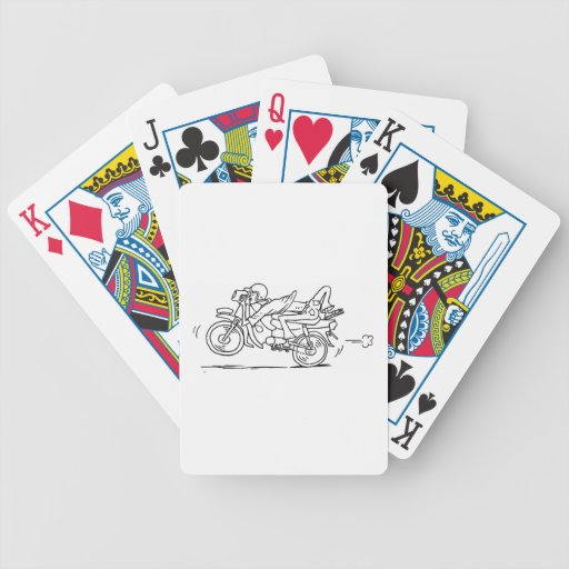Hombre de la motocicleta del dibujo animado baraja de cartas bicycle
