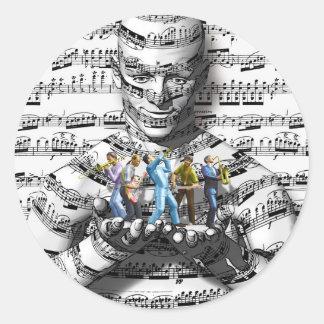 Hombre de la música etiquetas redondas