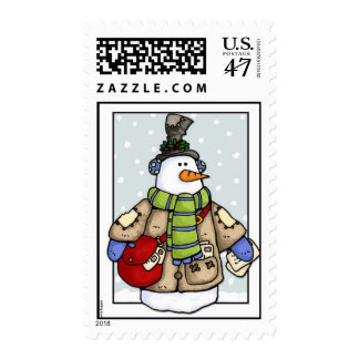 hombre de la nieve del poste estampilla