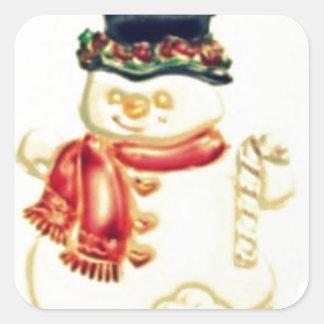 Hombre de la nieve calcomanías cuadradass