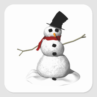 Hombre de la nieve calcomanía cuadrada