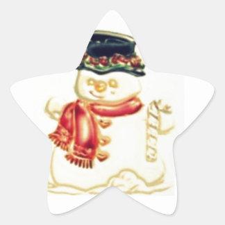 Hombre de la nieve pegatina en forma de estrella