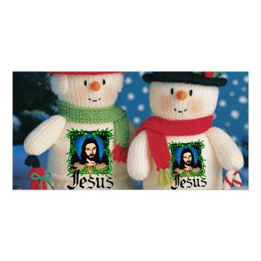hombre de la nieve plantilla para tarjeta de foto