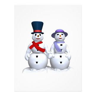 Hombre de la nieve y mujer de la nieve tarjeta publicitaria