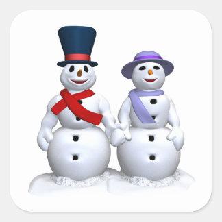 Hombre de la nieve y mujer de la nieve calcomanías cuadradass personalizadas