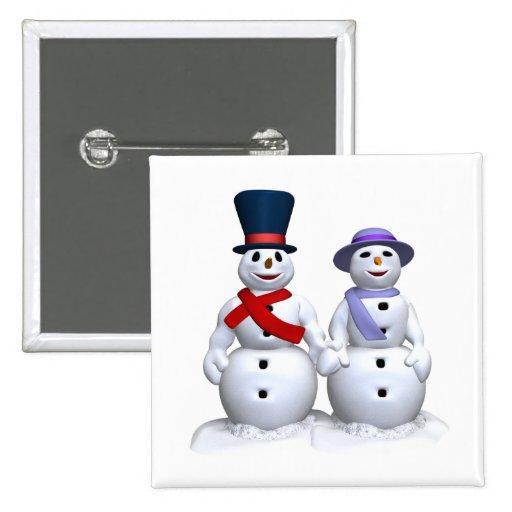 Hombre de la nieve y mujer de la nieve pins