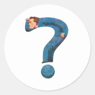 Hombre de la pregunta pegatina redonda