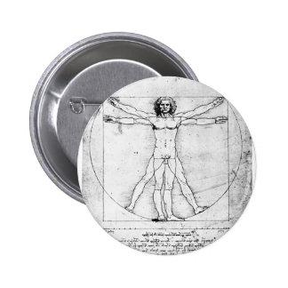 Hombre de la proporción de Leondardo da Vinci Pin Redondo De 2 Pulgadas