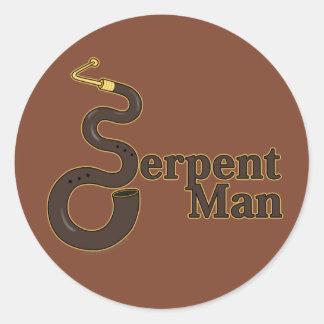 Hombre de la serpiente pegatinas redondas