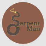 Hombre de la serpiente pegatina redonda