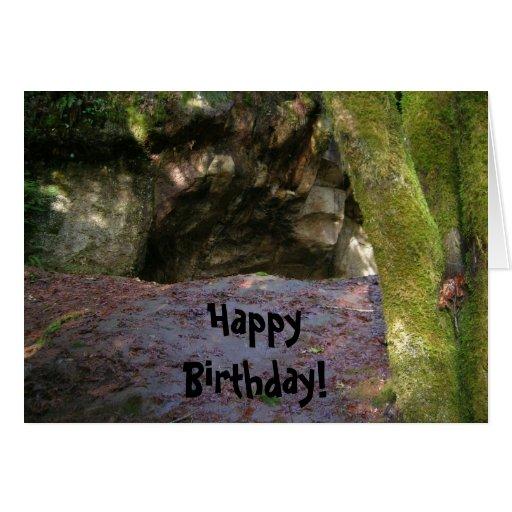 Hombre de las cavernas del cumpleaños tarjetón