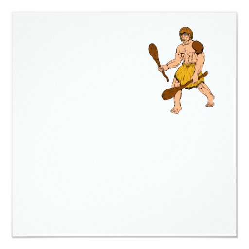 """hombre de las cavernas del dibujo animado que invitación 5.25"""" x 5.25"""""""