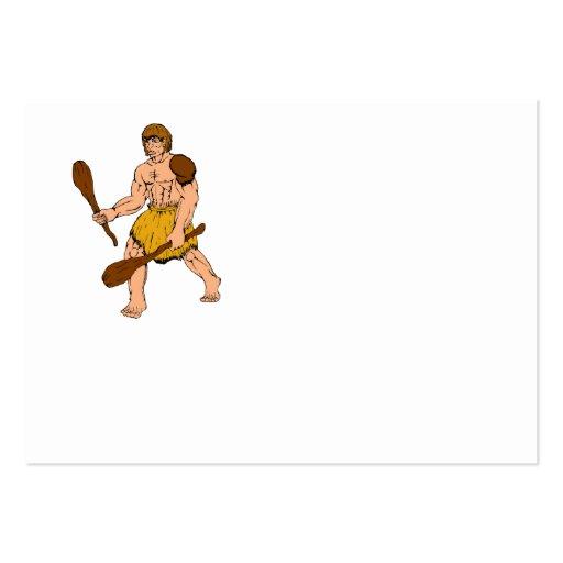 hombre de las cavernas del dibujo animado que tarjetas personales
