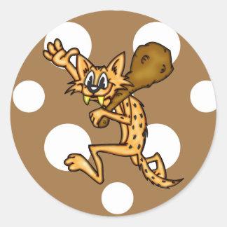 Hombre de las cavernas del gato del dibujo animado etiquetas redondas