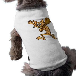 Hombre de las cavernas del gato del dibujo animado playera sin mangas para perro