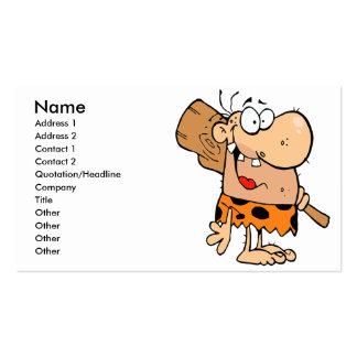 hombre de las cavernas divertido del dibujo animad tarjeta de visita