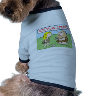 hombre de las cavernas, mujer, hacha, afeitado, pi camiseta con mangas para perro