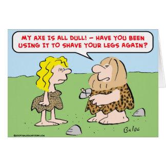 hombre de las cavernas, mujer, hacha, afeitado, pi tarjeta de felicitación