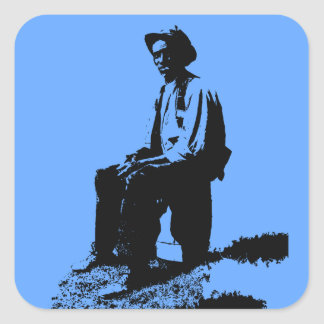 Hombre de los azules pegatina cuadradas personalizada
