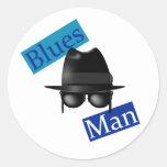 Hombre de los azules pegatina redonda