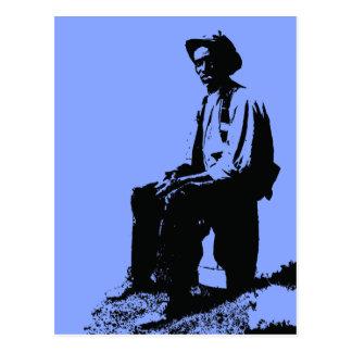 Hombre de los azules postales