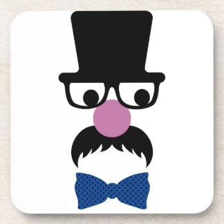 Hombre de moda retro del bigote posavasos de bebidas